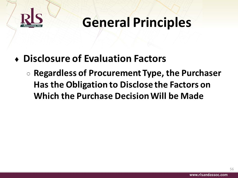 General Principles Disclosure of Evaluation Factors