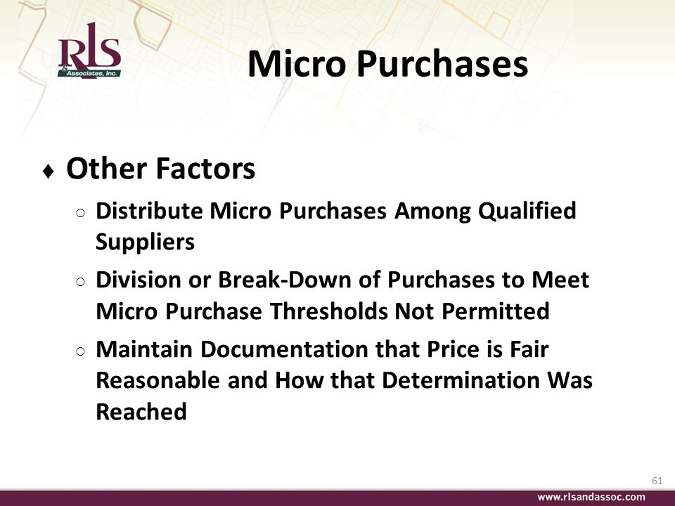 Micro Purchases Other Factors