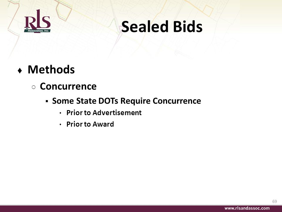 Sealed Bids Methods Concurrence Some State DOTs Require Concurrence