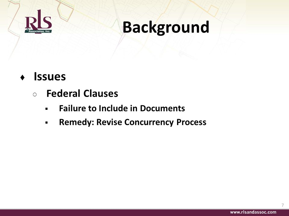 Background Issues Federal Clauses Failure to Include in Documents