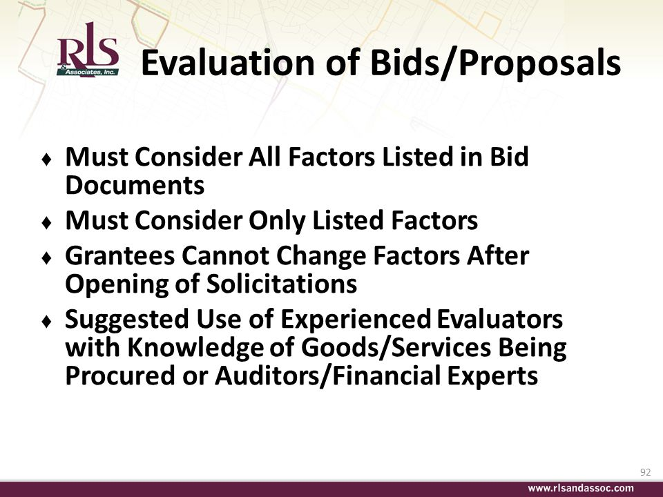 Evaluation of Bids/Proposals