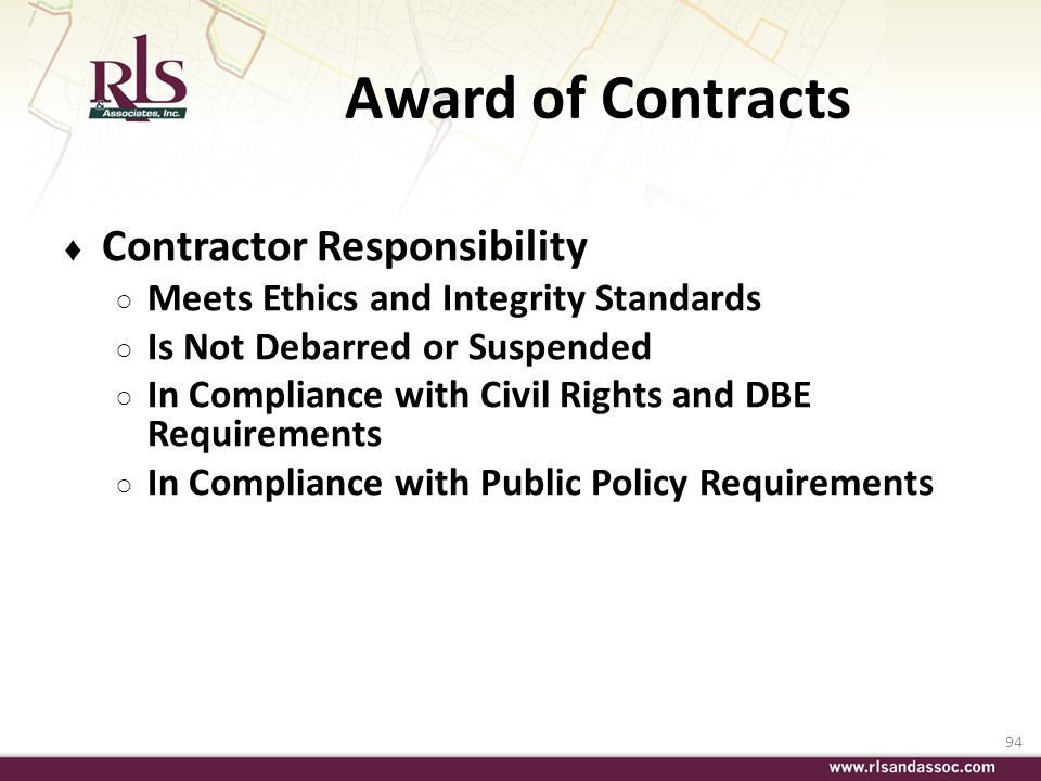 Award of Contracts Contractor Responsibility