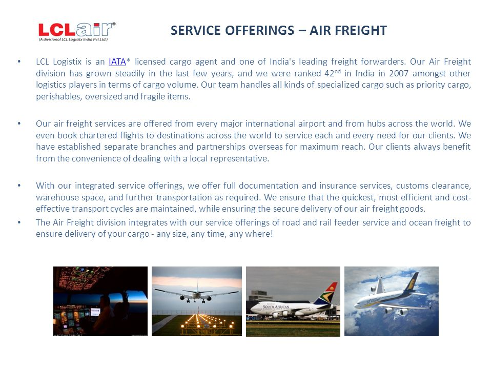 SERVICE OFFERINGS – AIR FREIGHT