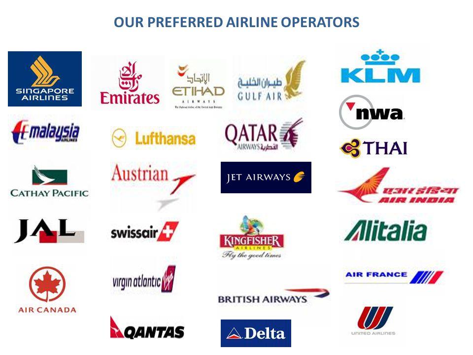 OUR PREFERRED AIRLINE OPERATORS