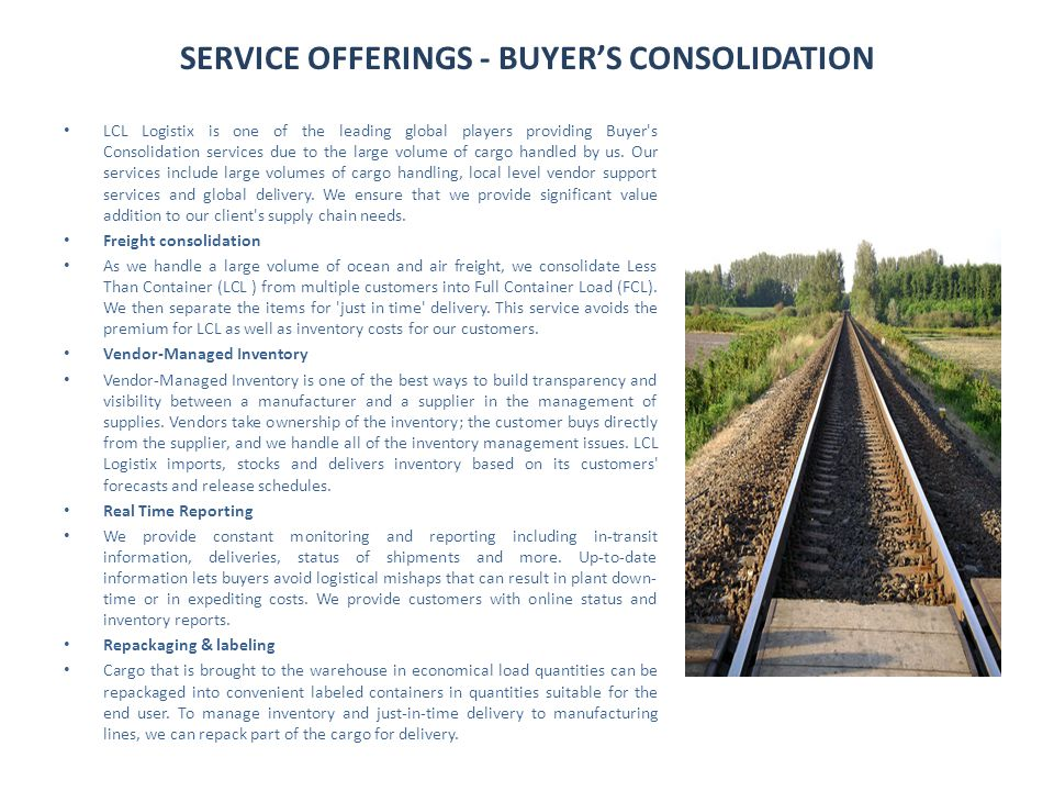 SERVICE OFFERINGS - BUYER'S CONSOLIDATION