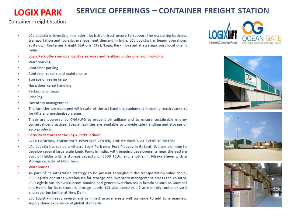 SERVICE OFFERINGS – CONTAINER FREIGHT STATION