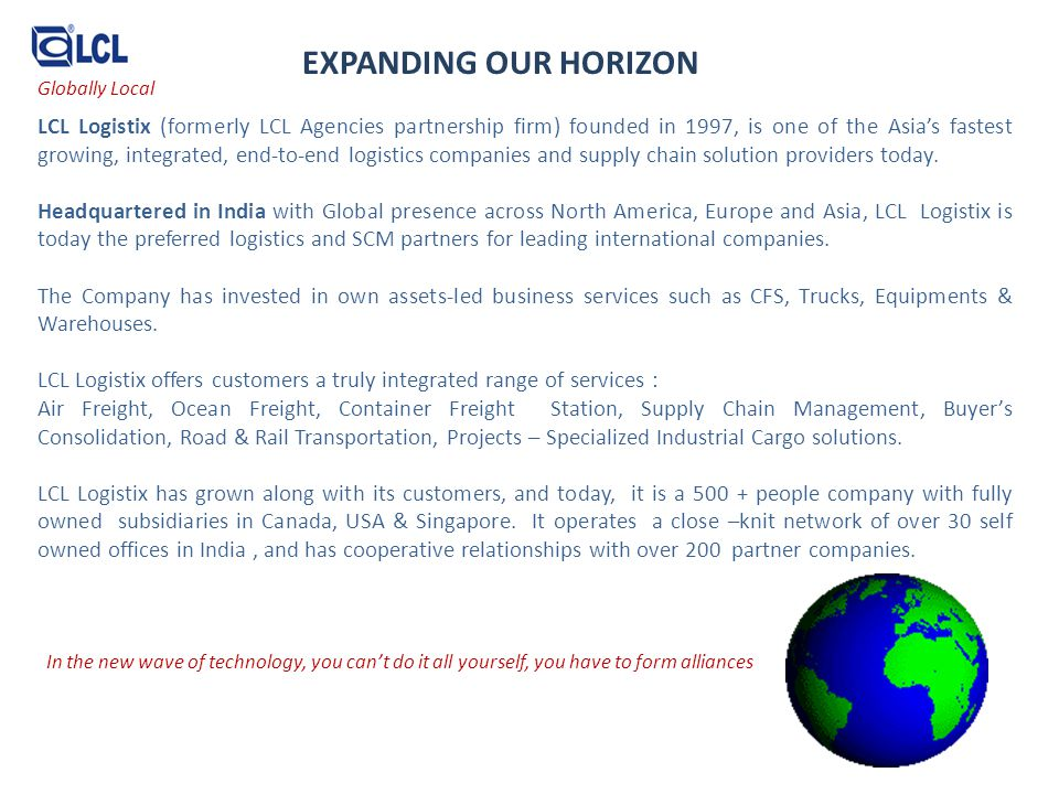 EXPANDING OUR HORIZON Globally Local.