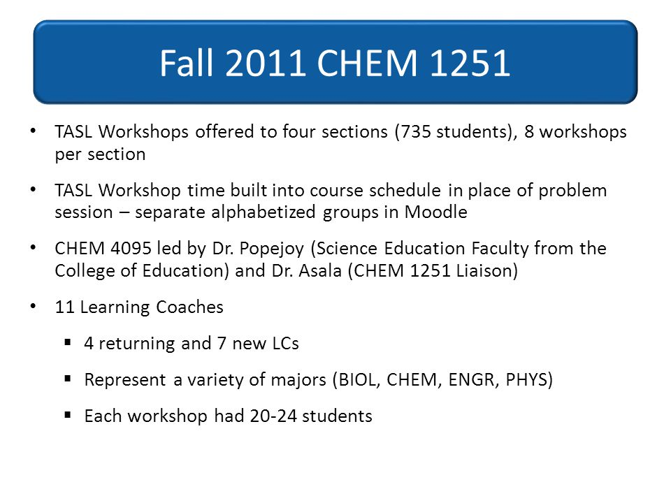 Fall 2011 CHEM 1251 TASL Workshops offered to four sections (735 students), 8 workshops per section.