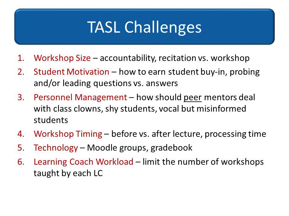 TASL Challenges Workshop Size – accountability, recitation vs. workshop.