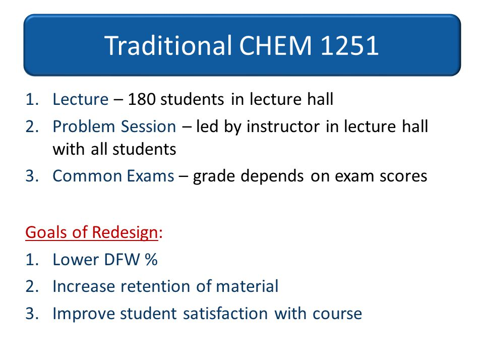 Traditional CHEM 1251 Lecture – 180 students in lecture hall