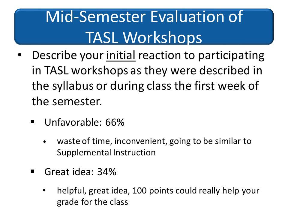 Mid-Semester Evaluation of TASL Workshops