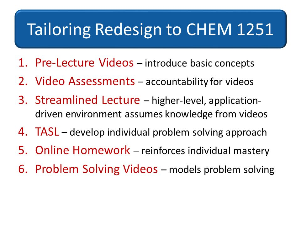 Tailoring Redesign to CHEM 1251