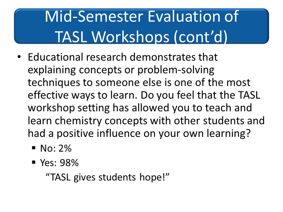 Mid-Semester Evaluation of TASL Workshops (cont'd)