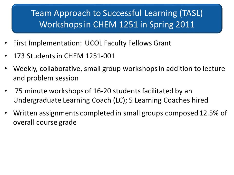 Team Approach to Successful Learning (TASL) Workshops in CHEM 1251 in Spring 2011