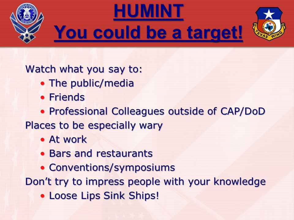 HUMINT You could be a target!