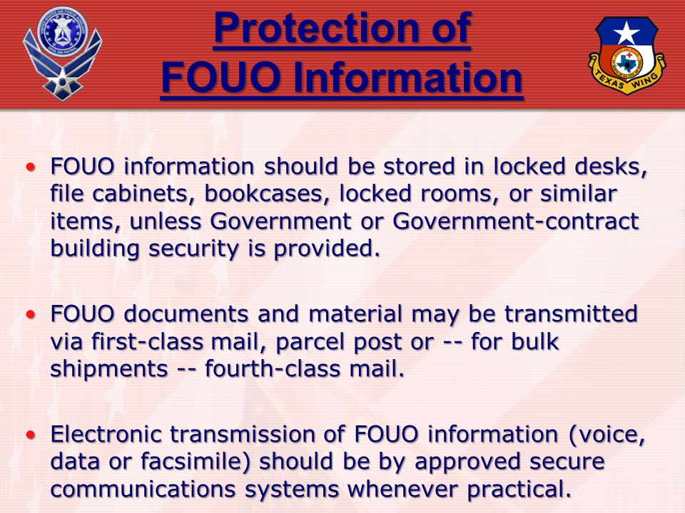 Protection of FOUO Information