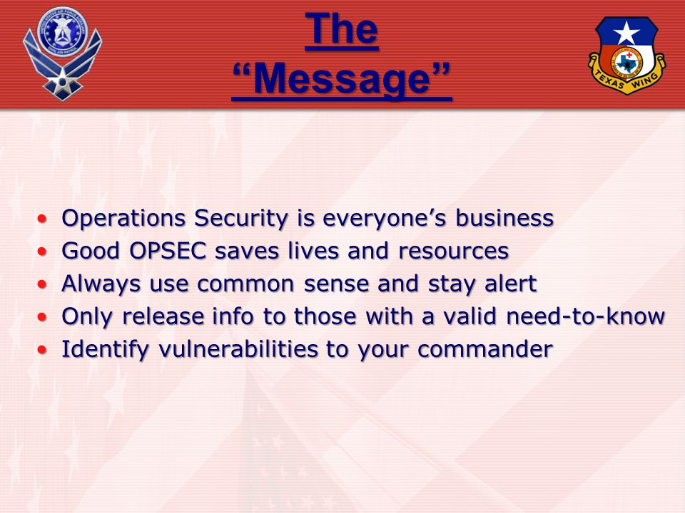 The Message Operations Security is everyone's business