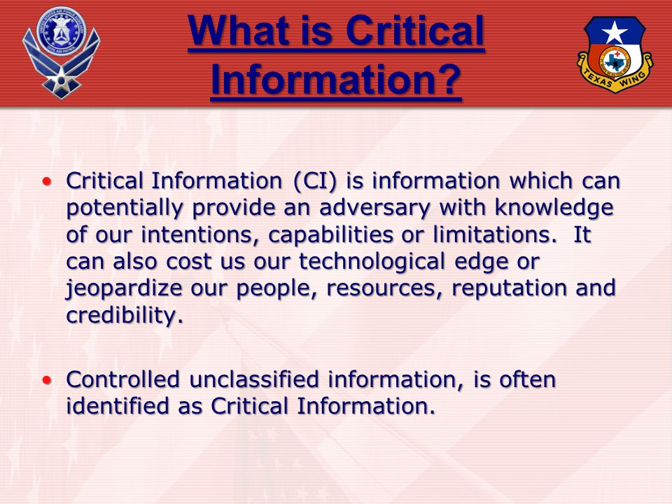 What is Critical Information
