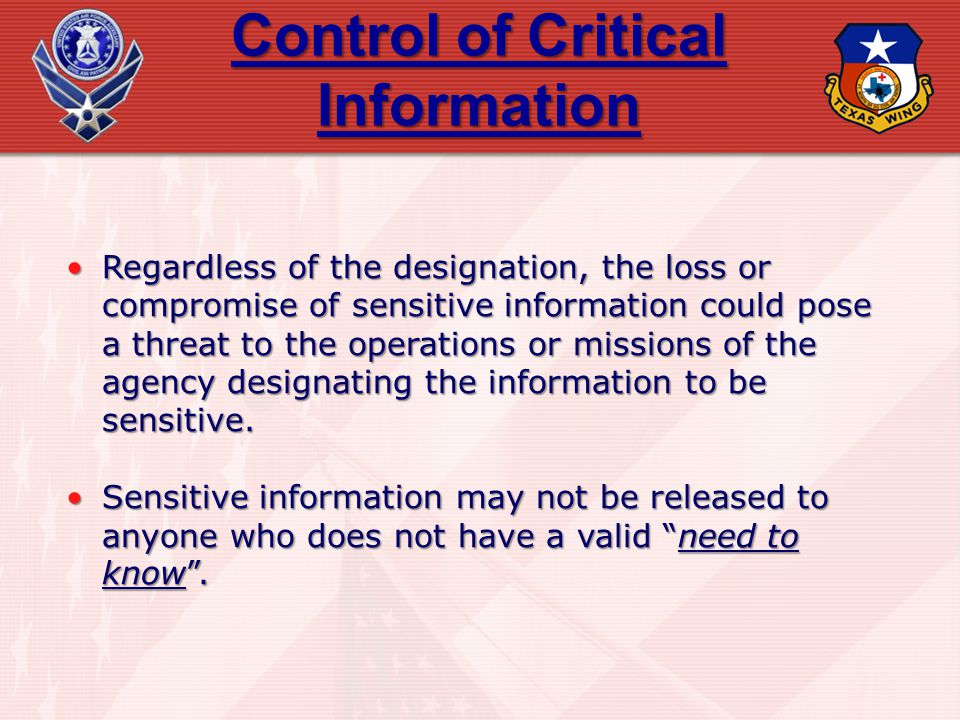 Control of Critical Information