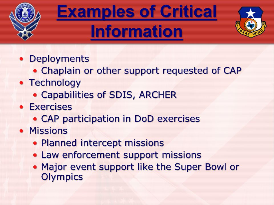 Examples of Critical Information