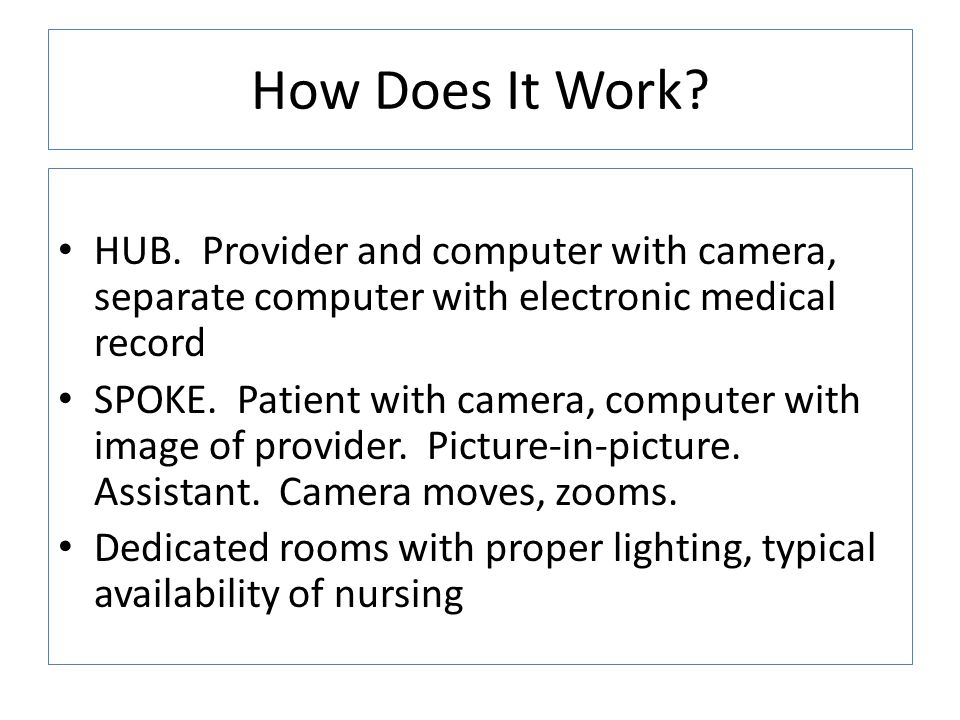 How Does It Work HUB. Provider and computer with camera, separate computer with electronic medical record.