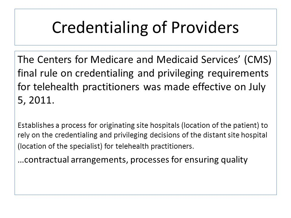 Credentialing of Providers