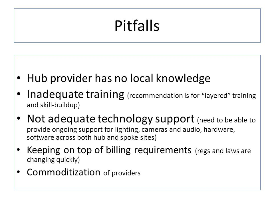 Pitfalls Hub provider has no local knowledge
