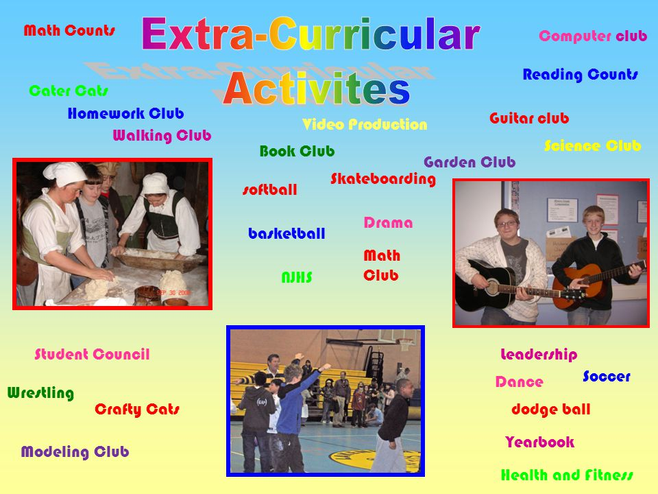 Extra-Curricular Activites Math Counts Computer club Reading Counts