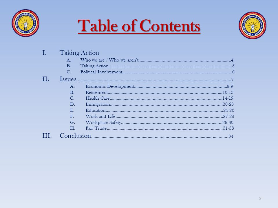 Table of Contents Taking Action