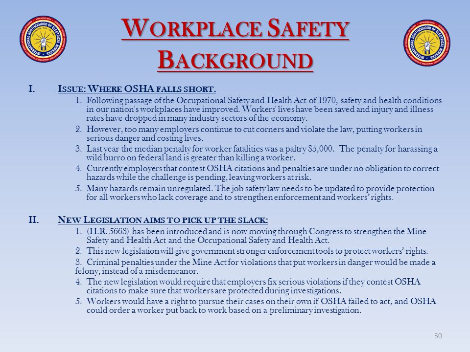 Workplace Safety Background