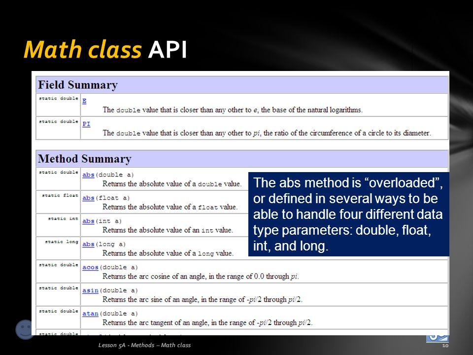 Math class API