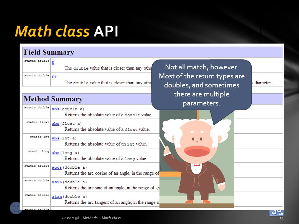 Math class API Not all match, however. Most of the return types are doubles, and sometimes there are multiple parameters.