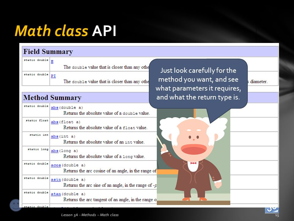 Math class API Just look carefully for the method you want, and see what parameters it requires, and what the return type is.