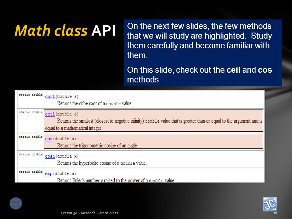 Math class API On the next few slides, the few methods that we will study are highlighted. Study them carefully and become familiar with them.
