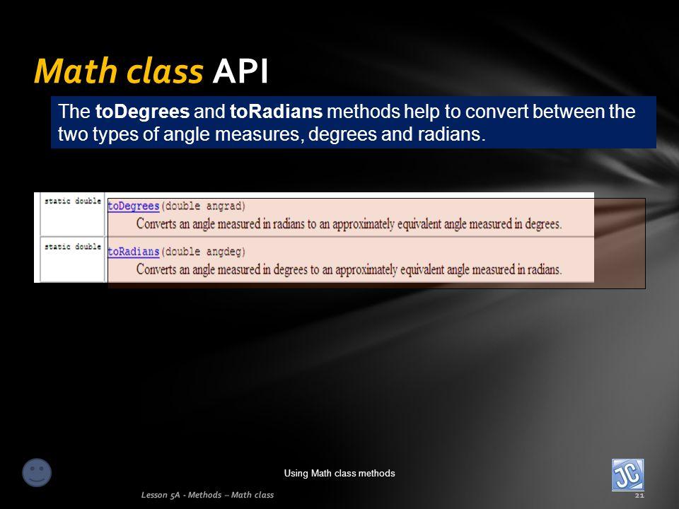 Using Math class methods