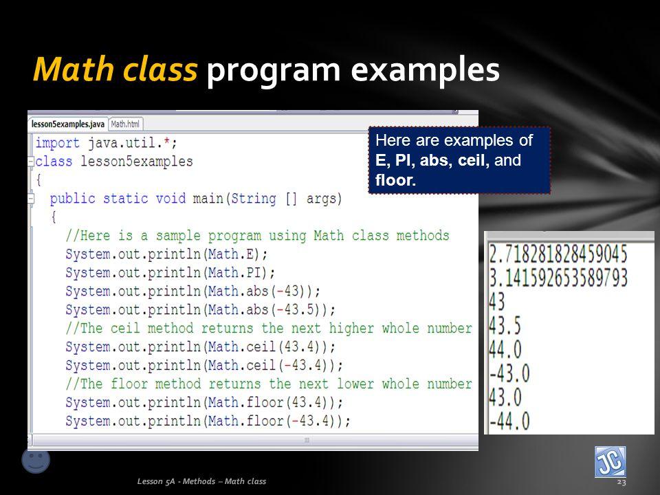 Math class program examples