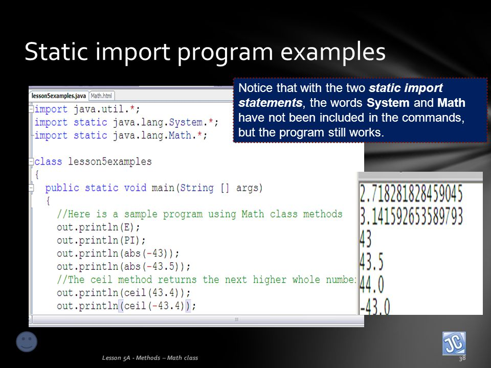 Static import program examples