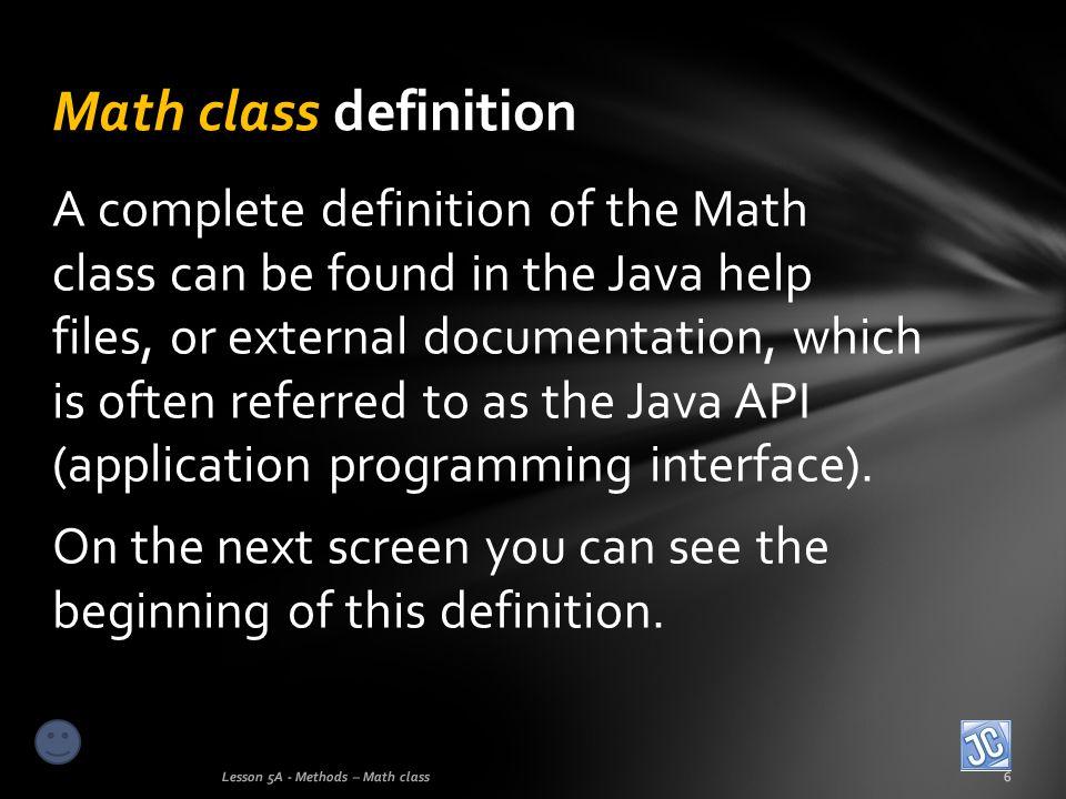Math class definition