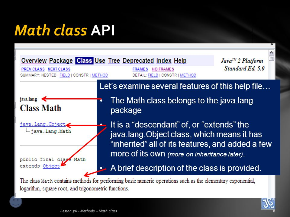Math class API Let's examine several features of this help file…
