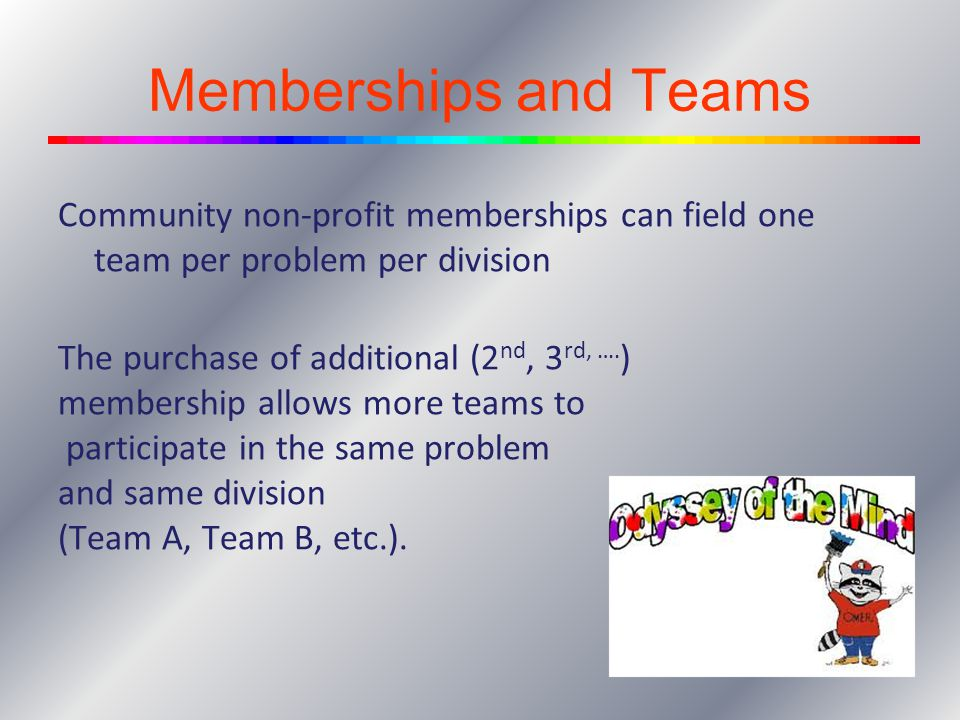 Memberships and Teams Community non-profit memberships can field one team per problem per division.