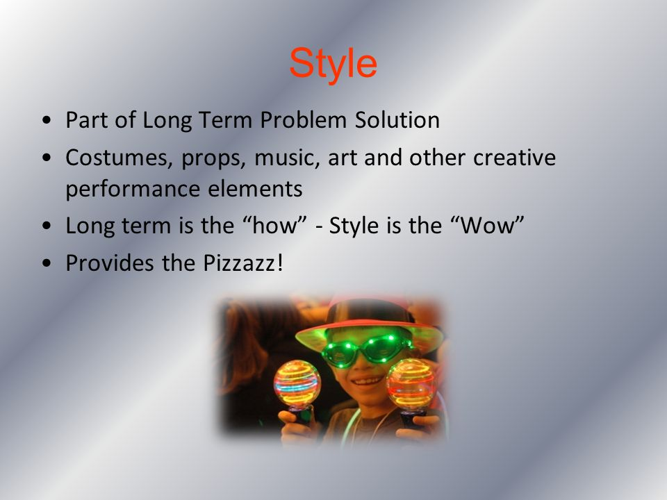 Style Part of Long Term Problem Solution