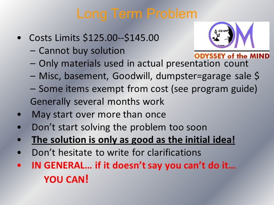 Long Term Problem Costs Limits $125.00--$145.00 Cannot buy solution