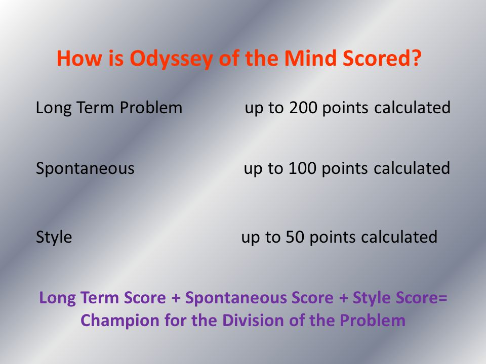 How is Odyssey of the Mind Scored