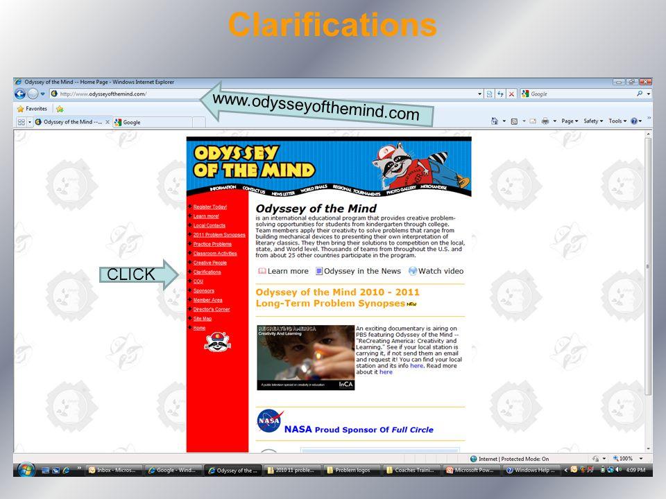 Clarifications www.odysseyofthemind.com CLICK