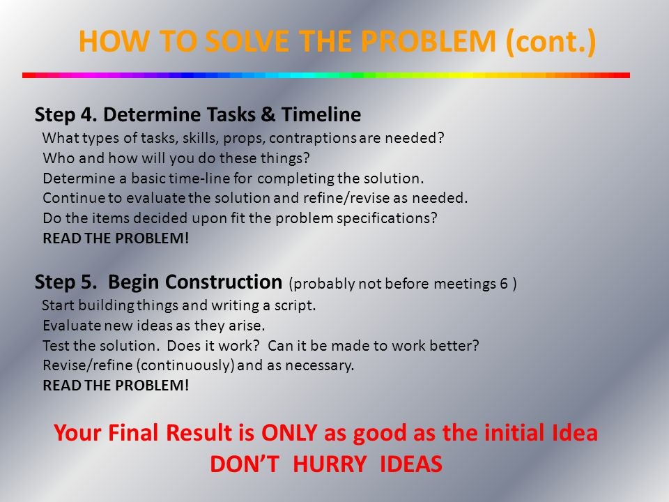 How to Solve the Problem…