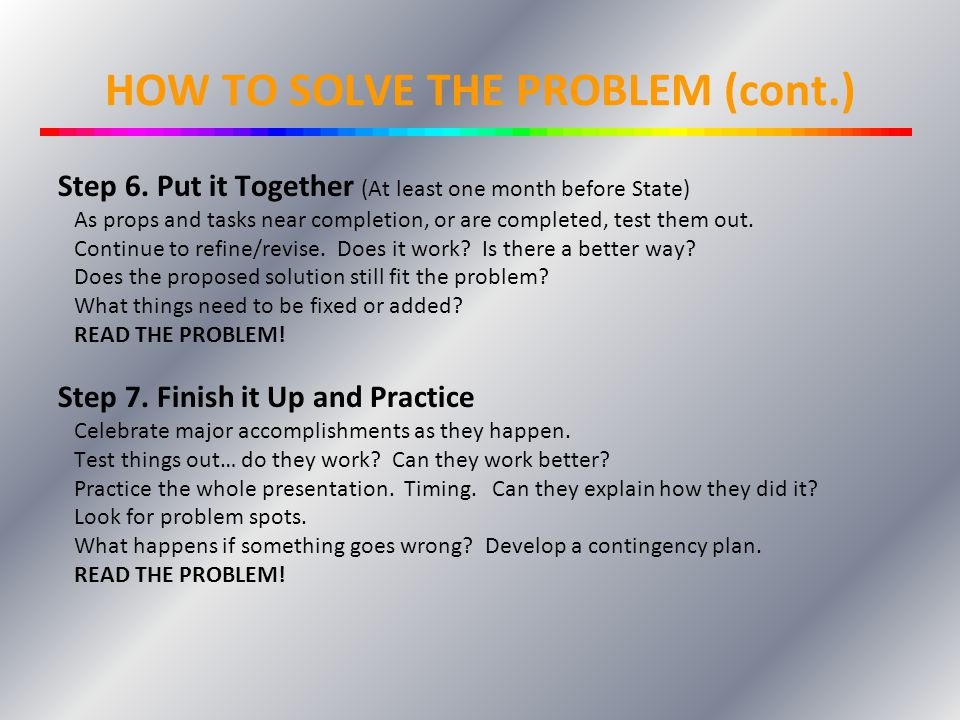 HOW TO SOLVE THE PROBLEM (cont.)