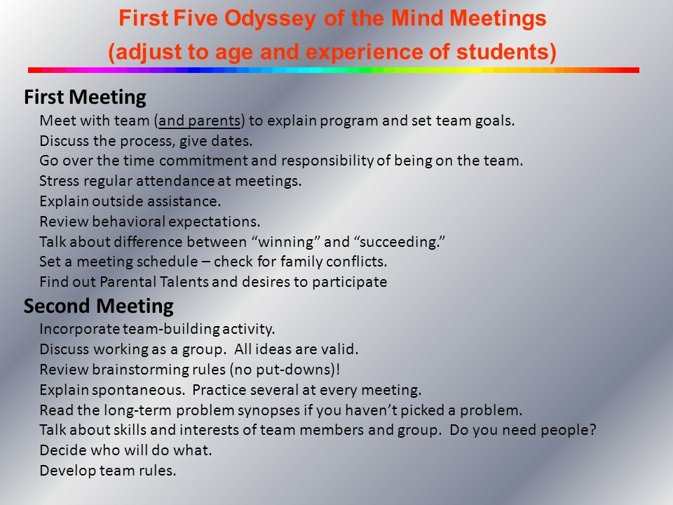 Schedule for the First Five OOTM Meetings