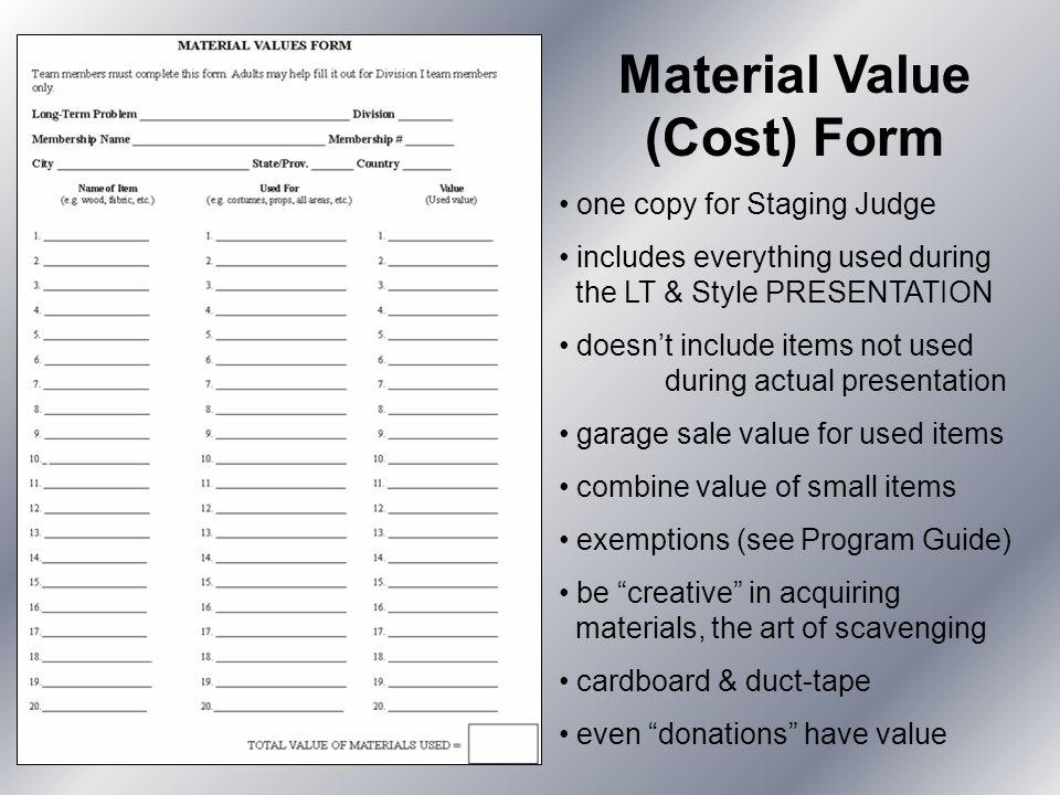 Material Value (Cost) Form