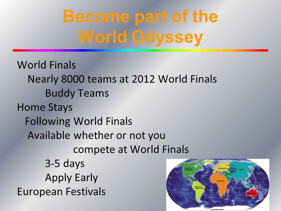 Become part of the World Odyssey