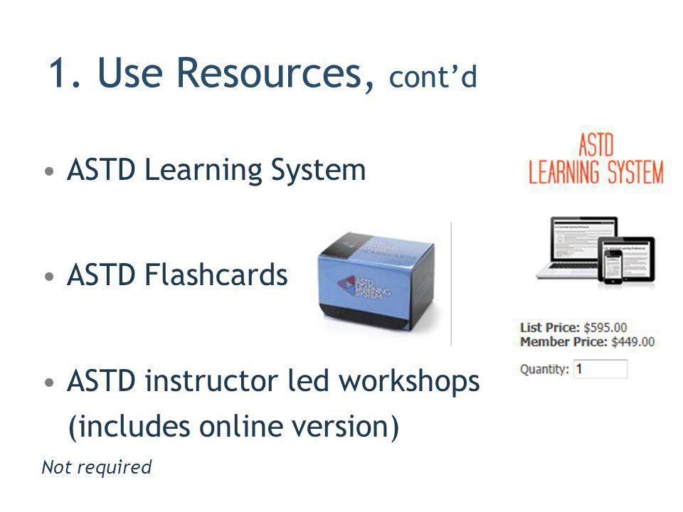 1. Use Resources, cont'd ASTD Learning System ASTD Flashcards